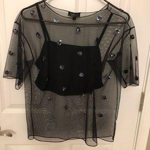 Topshop black mesh sequin polka dot top